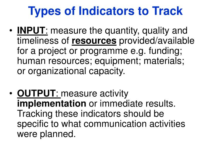 Types of Indicators to Track