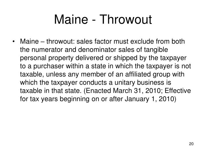 Maine - Throwout
