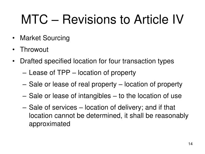 MTC – Revisions to Article IV