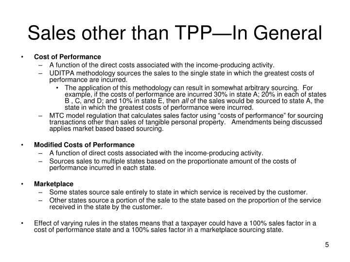 Sales other than TPP—In General