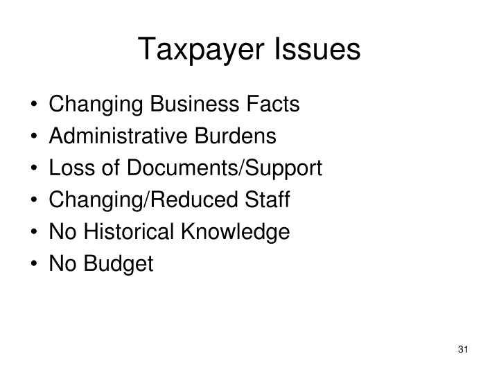 Taxpayer Issues