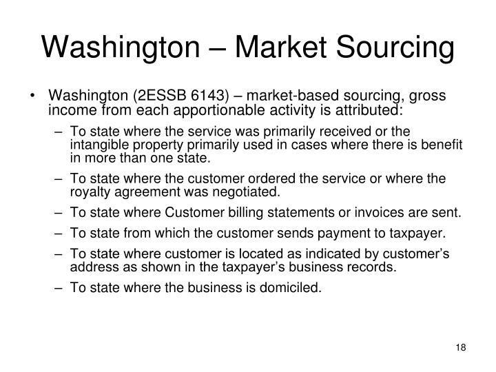 Washington – Market Sourcing