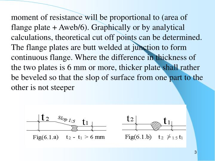 Moment of resistance will be proportional to (area of flange plate + Aweb/6). Graphically or by anal...