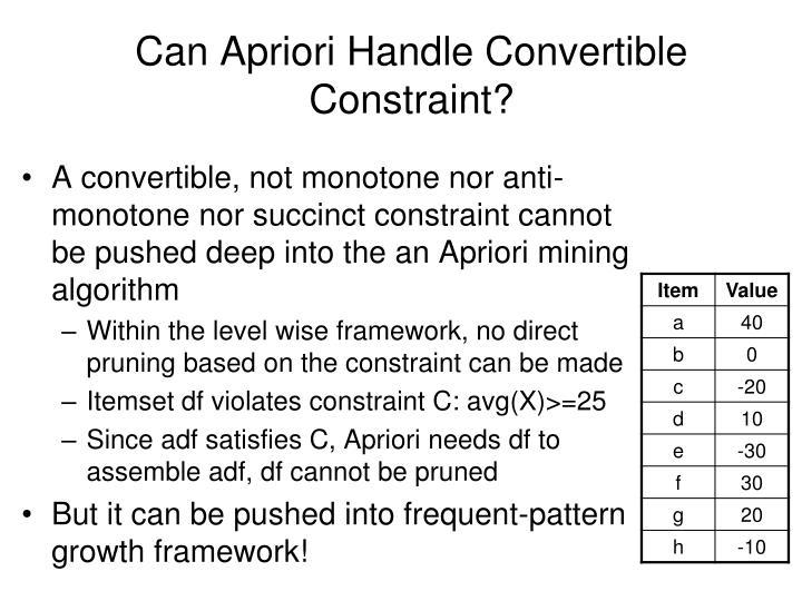 Can Apriori Handle Convertible Constraint?