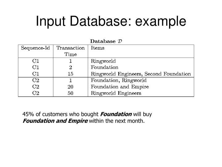 Input Database: example