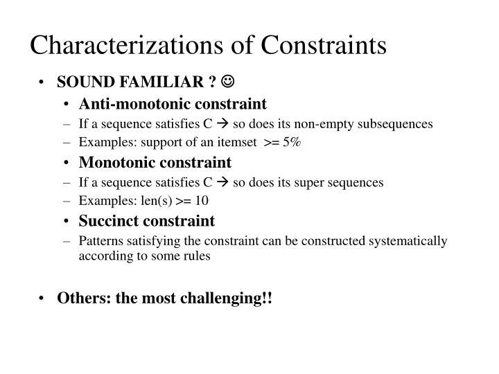 Characterizations of Constraints