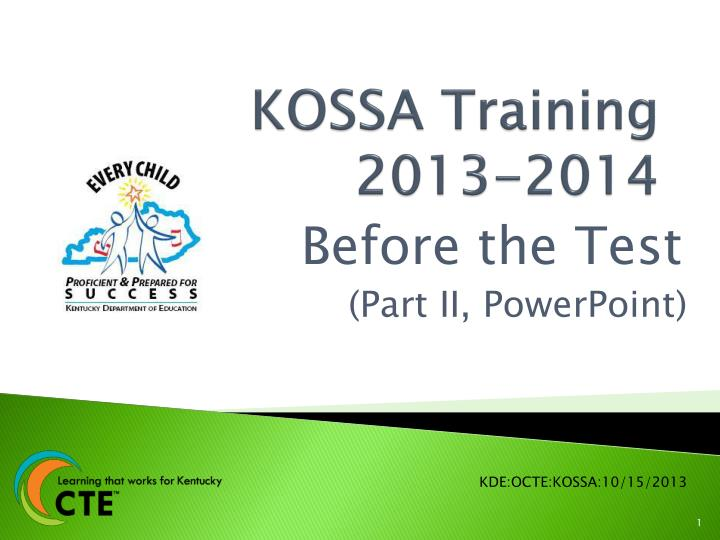 Kossa training 2013 2014