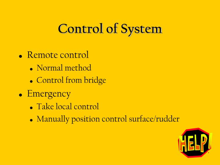 Control of System