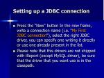 setting up a jdbc connection1