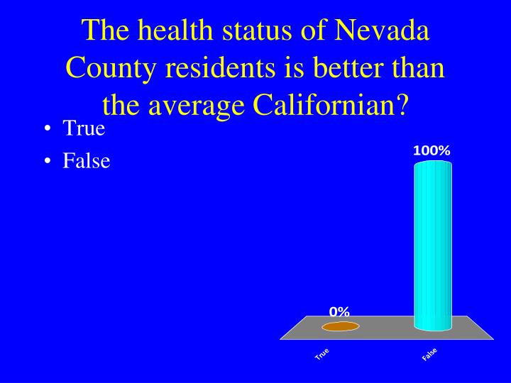 The health status of Nevada County residents is better than the average Californian?