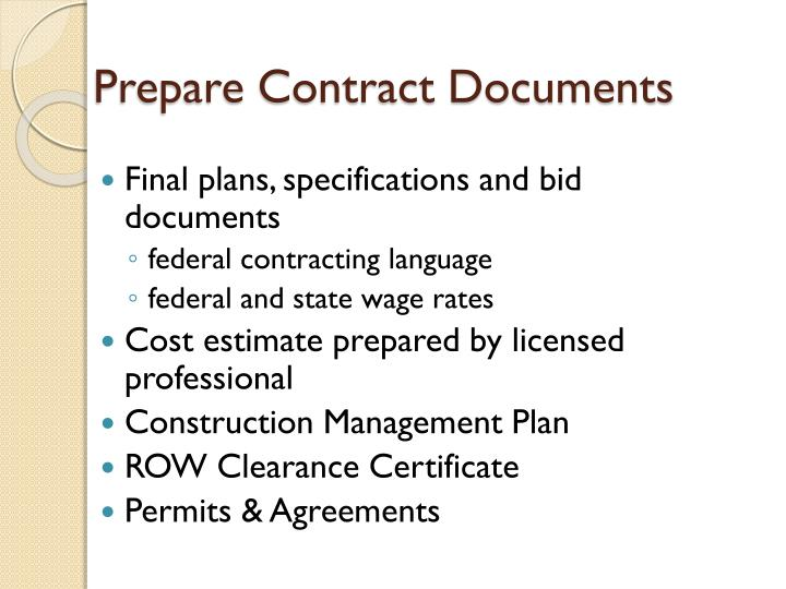 Prepare Contract Documents