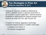 tax strategies in prior art effective september 16 2011