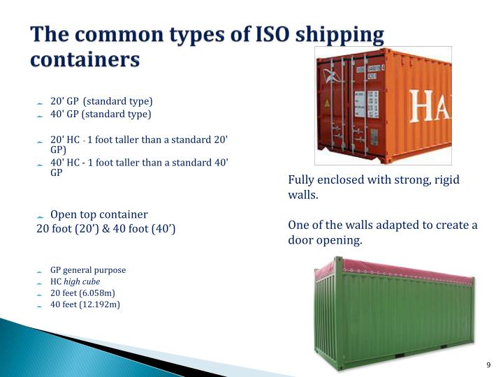 The common types of ISO shipping containers