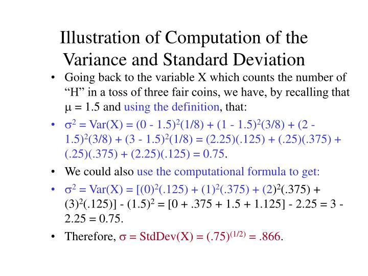 Illustration of Computation of the Variance and Standard Deviation