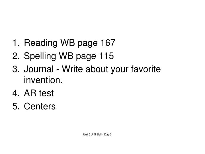 Reading WB page 167