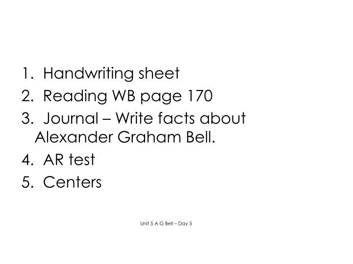 1.  Handwriting sheet