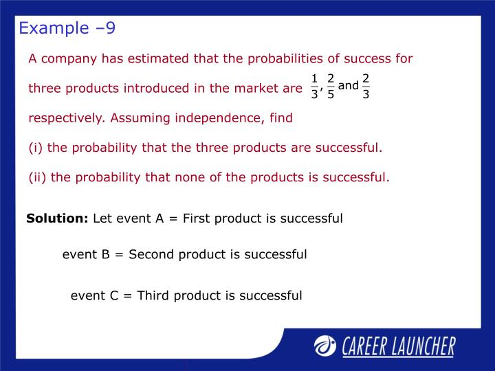 A company has estimated that the probabilities of success for