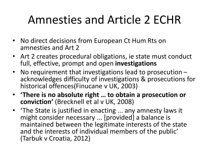 Amnesties and Article 2 ECHR
