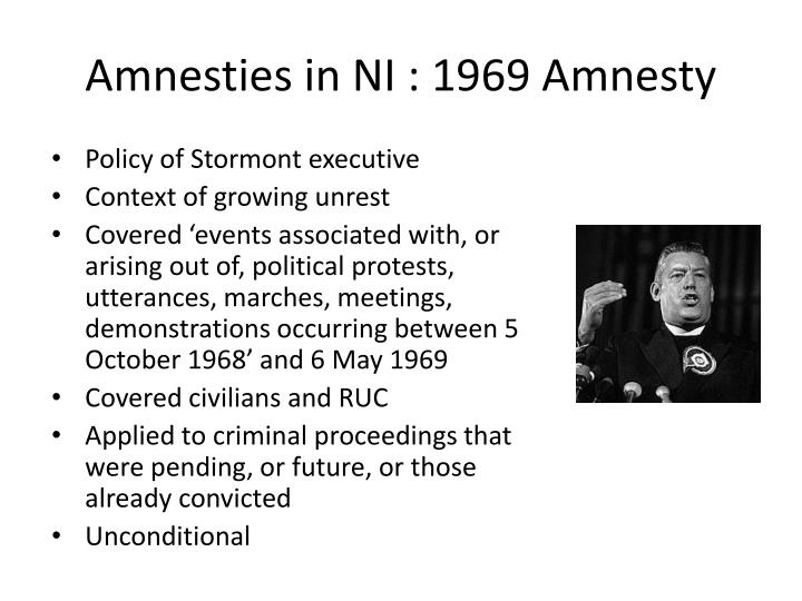 Amnesties in NI : 1969 Amnesty