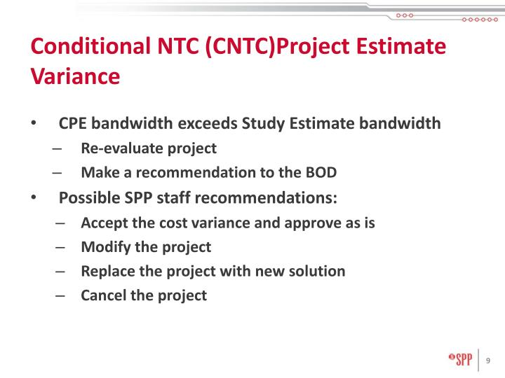 Conditional NTC (CNTC)Project Estimate Variance
