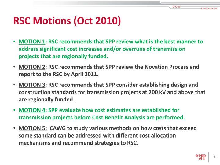 Rsc motions oct 2010