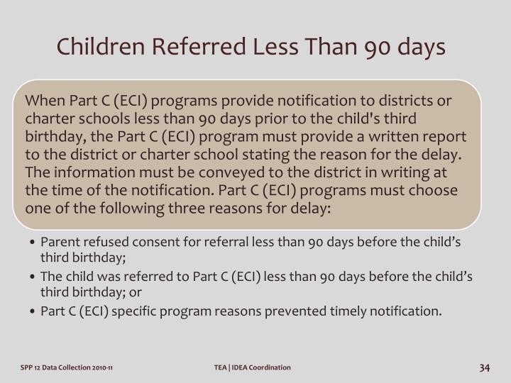 Children Referred Less Than 90 days