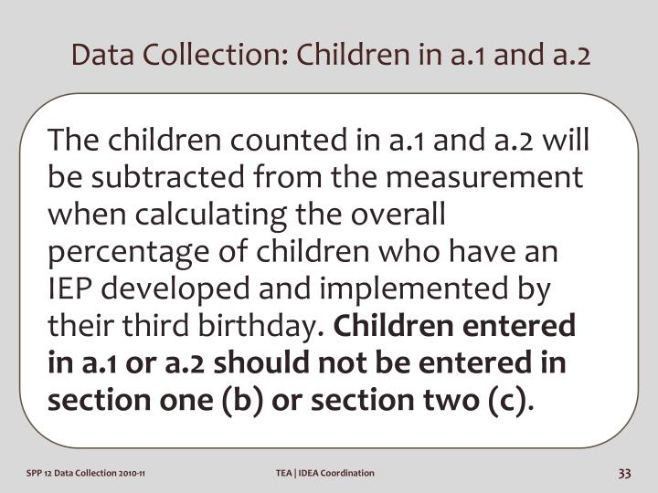 Data Collection: Children in a.1 and a.2