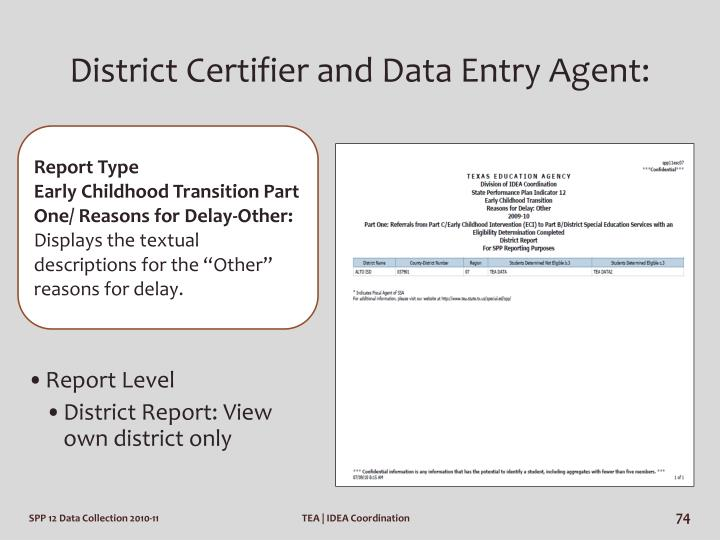 District Certifier and Data Entry Agent: