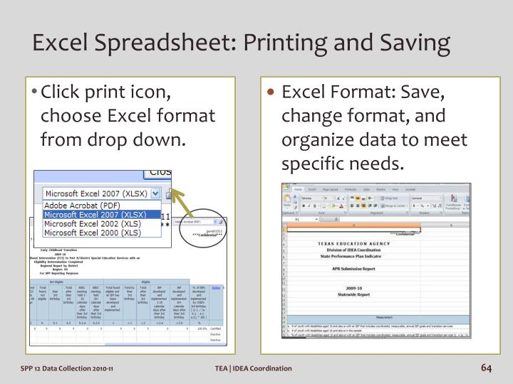 Excel Spreadsheet: Printing and Saving