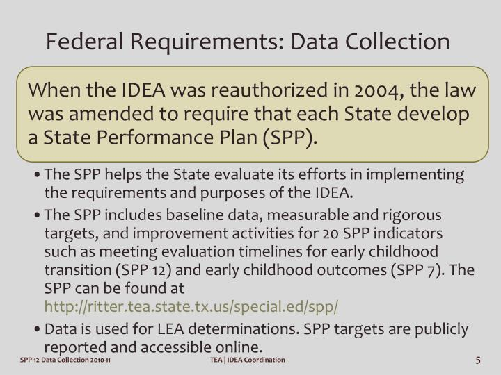 Federal Requirements: Data Collection