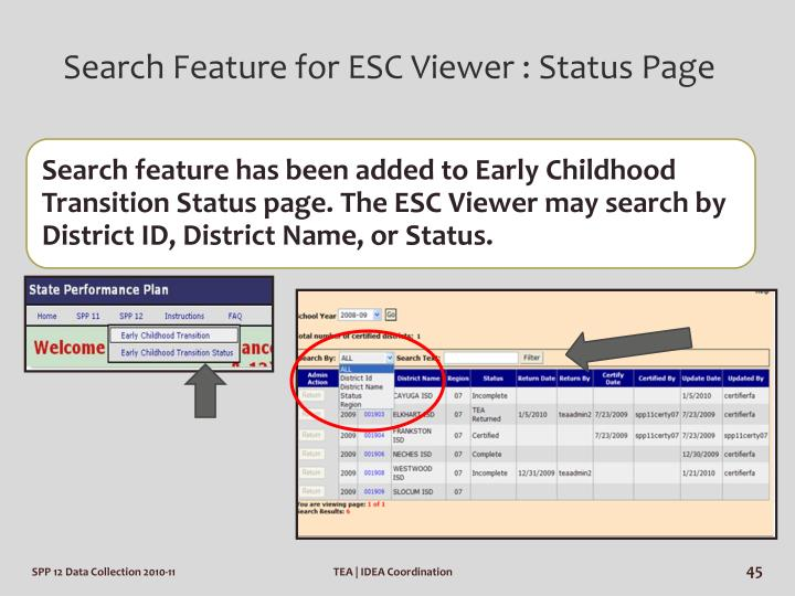 Search Feature for ESC Viewer : Status Page