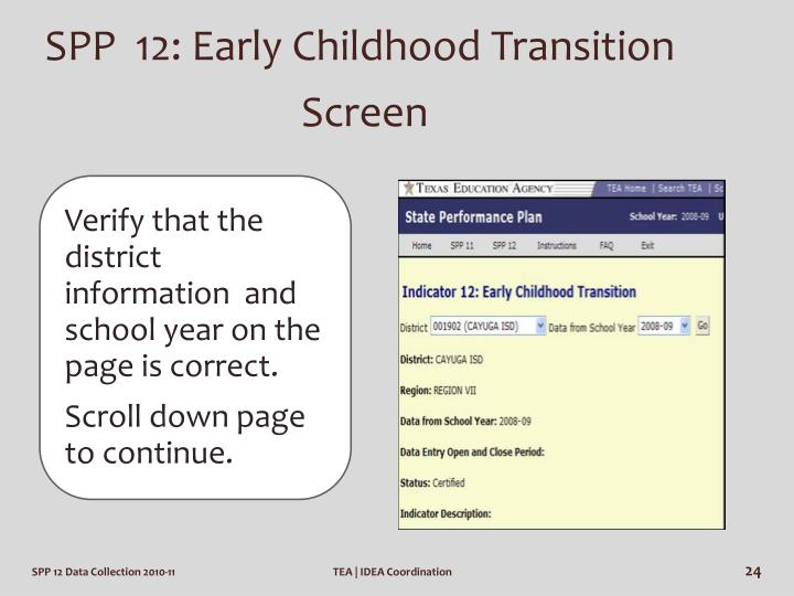 SPP  12: Early Childhood Transition