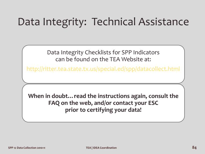 Data Integrity:  Technical Assistance
