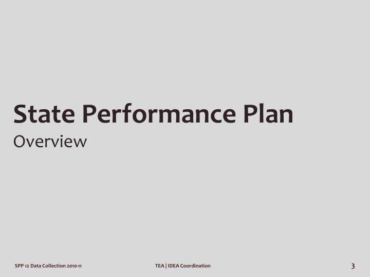 State performance plan overview