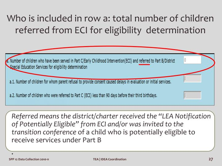 Who is included in row a: total number of children referred from ECI for eligibility  determination