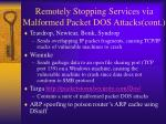 remotely stopping services via malformed packet dos attacks cont