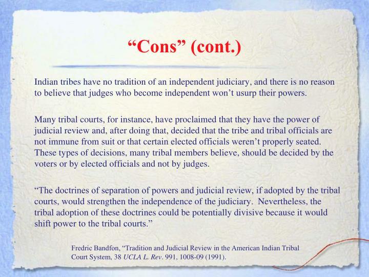 """""""Cons"""" (cont.)"""