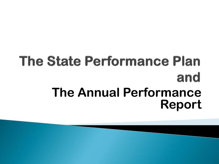 the state performance plan and n.