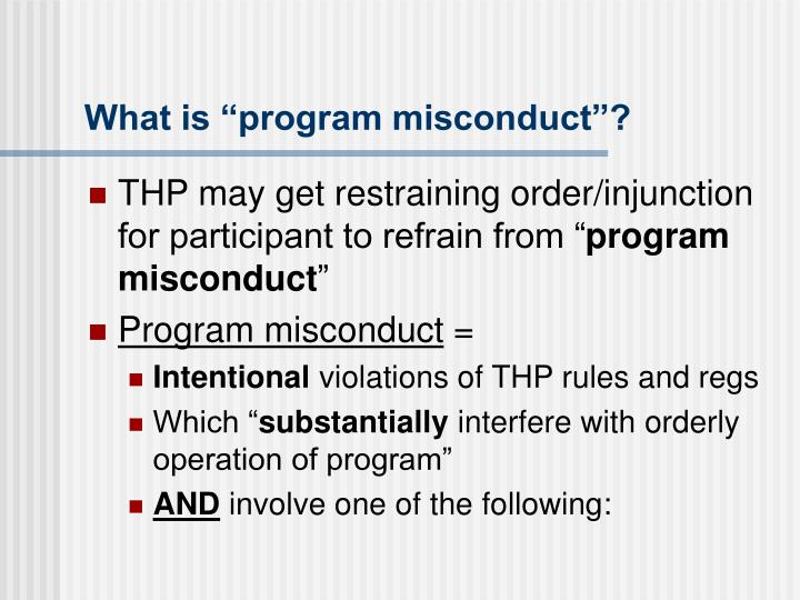 """What is """"program misconduct""""?"""