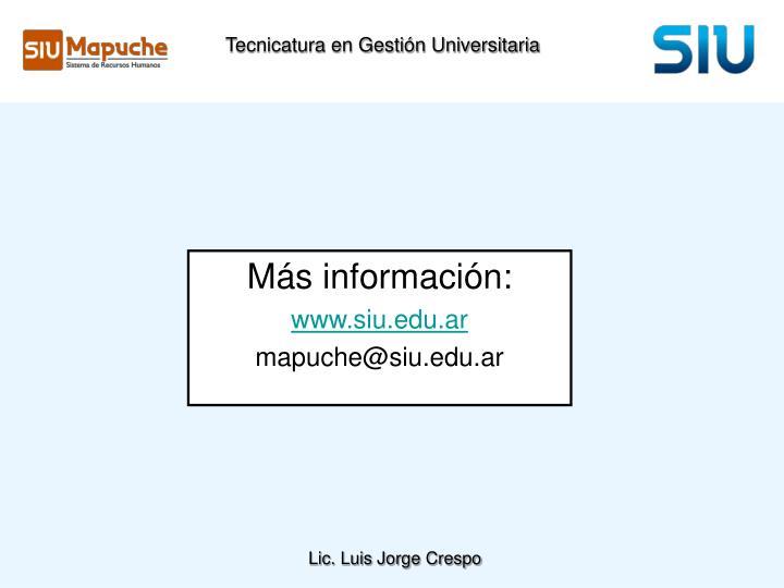 Tecnicatura en Gestión Universitaria