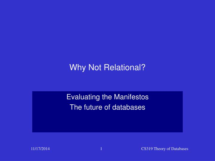 why not relational n.