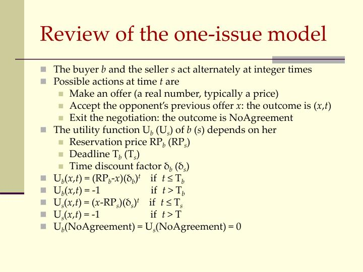 Review of the one-issue model