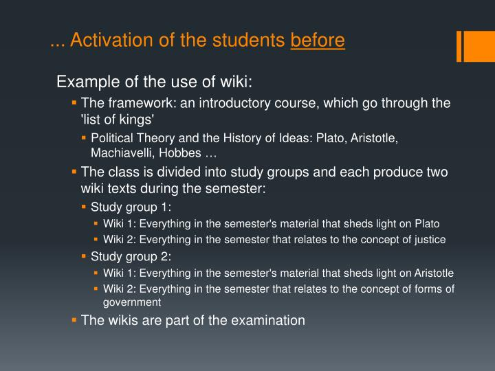 ... Activation of the students