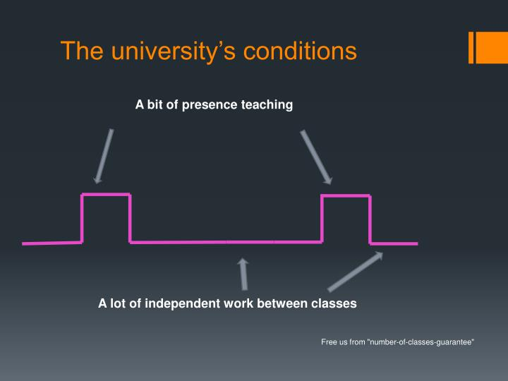 The university's conditions