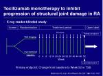 tocilizumab monotherapy to inhibit progression of structural joint damage in ra