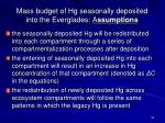m ass budget of hg seasonally deposited into the everglades a ssumptions