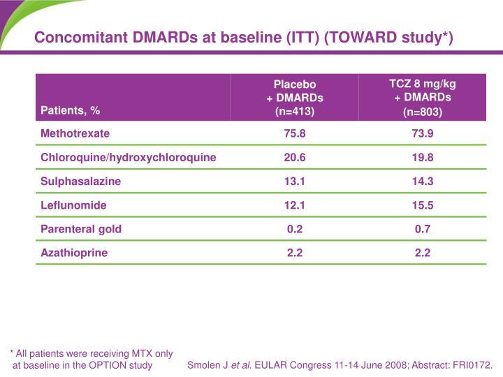 Concomitant DMARDs at baseline (ITT) (TOWARD study*)