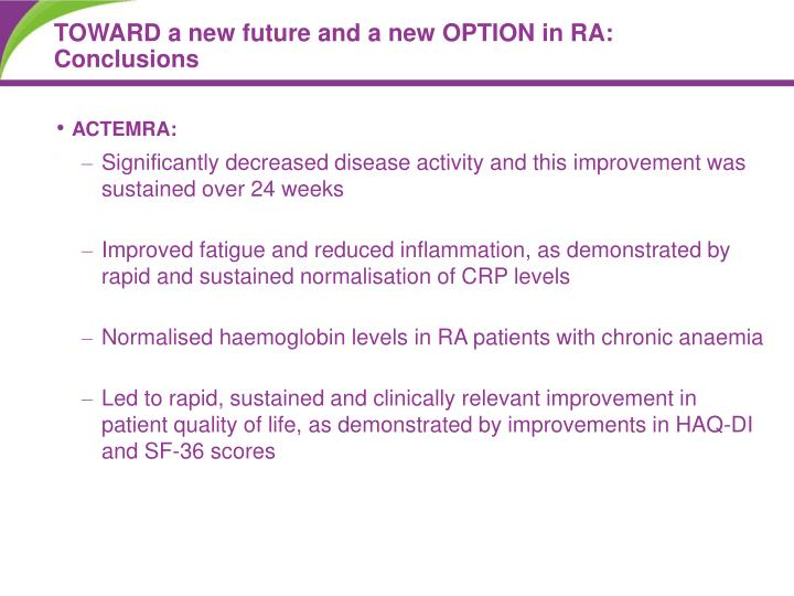 TOWARD a new future and a new OPTION in RA: