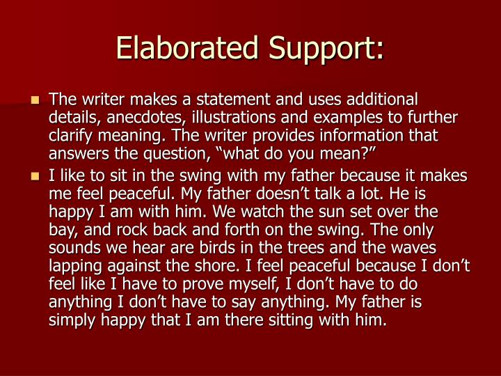 Elaborated Support: