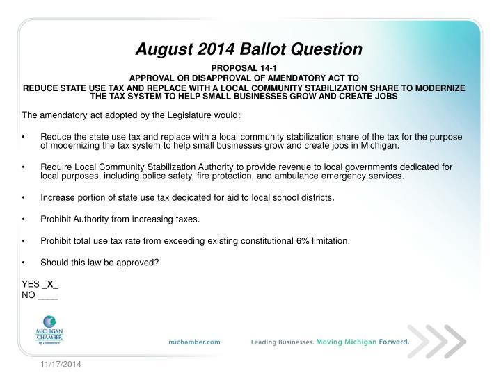 August 2014 Ballot Question